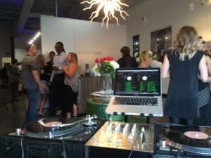 Crowd mingling at Lunatic Fringe Fashion Show with Boise DJ, DJ Eric Rhodes of Rhodes Entertainment